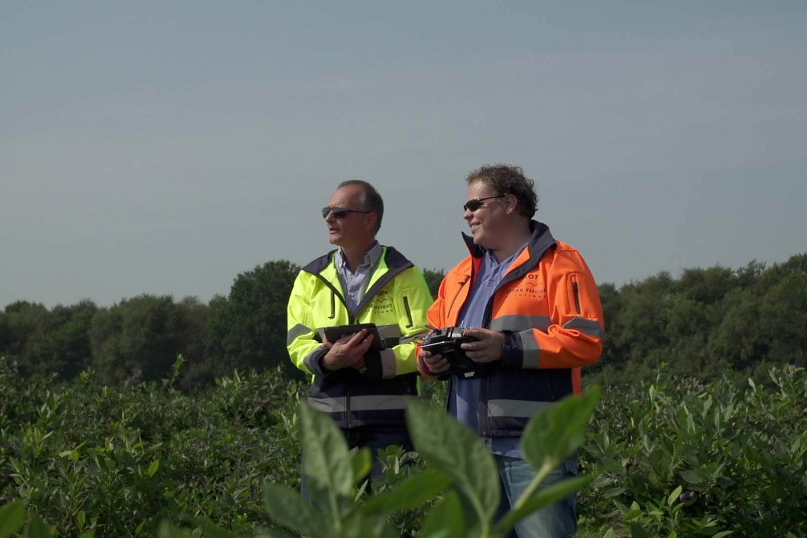 The Drone Bird Company pilots providing wildlife management services in an agricultural field.